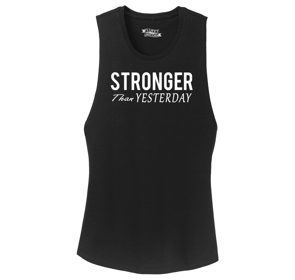 Stronger Than Yesterday Motivational Workout Shirt Ladies Festival Tank Top