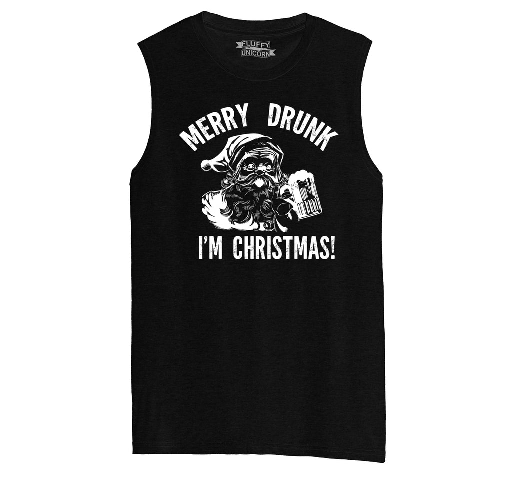 Merry Drunk I'm Christmas Mens Muscle Tank Muscle Tee