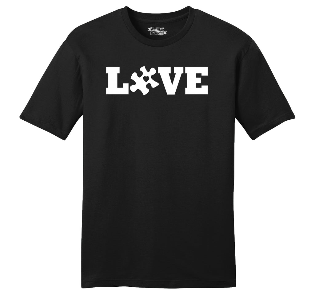 Love Autism Awareness Tee Mens Ringspun Cotton Tee Shirt