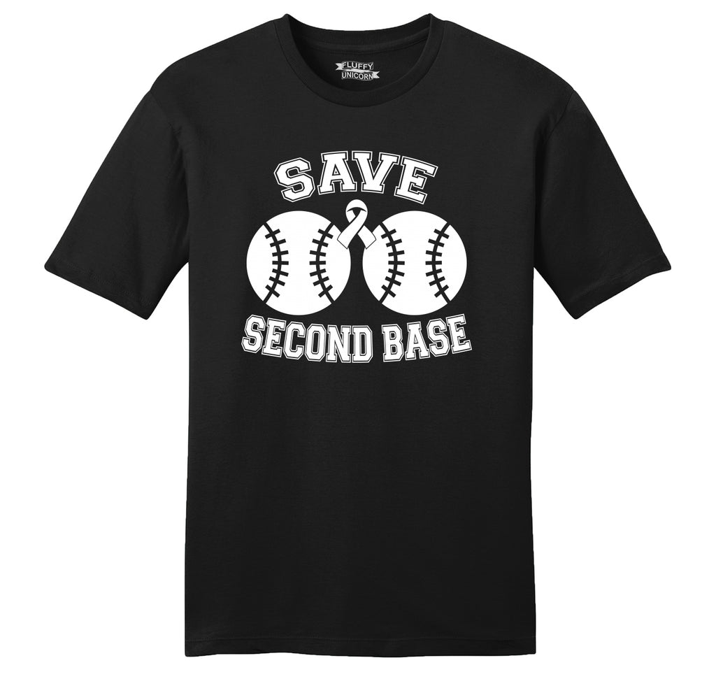 Save Second Base Cute Breast Cancer Awareness Shirt Mens Ringspun Cotton Tee Shirt