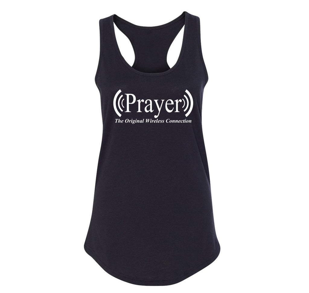 Prayer The Original Wireless Connection Ladies Racerback Tank Top