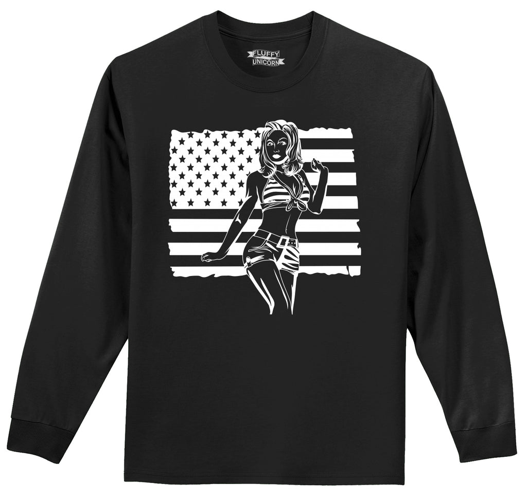Pinup Girl American Flag Mens Long Sleeve Tee Shirt