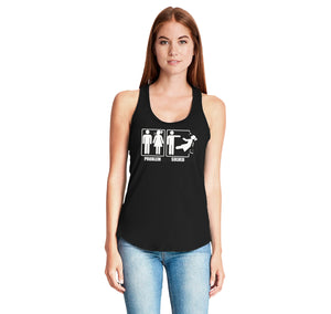 Problem Solved Ladies Gathered Racerback Tank Top
