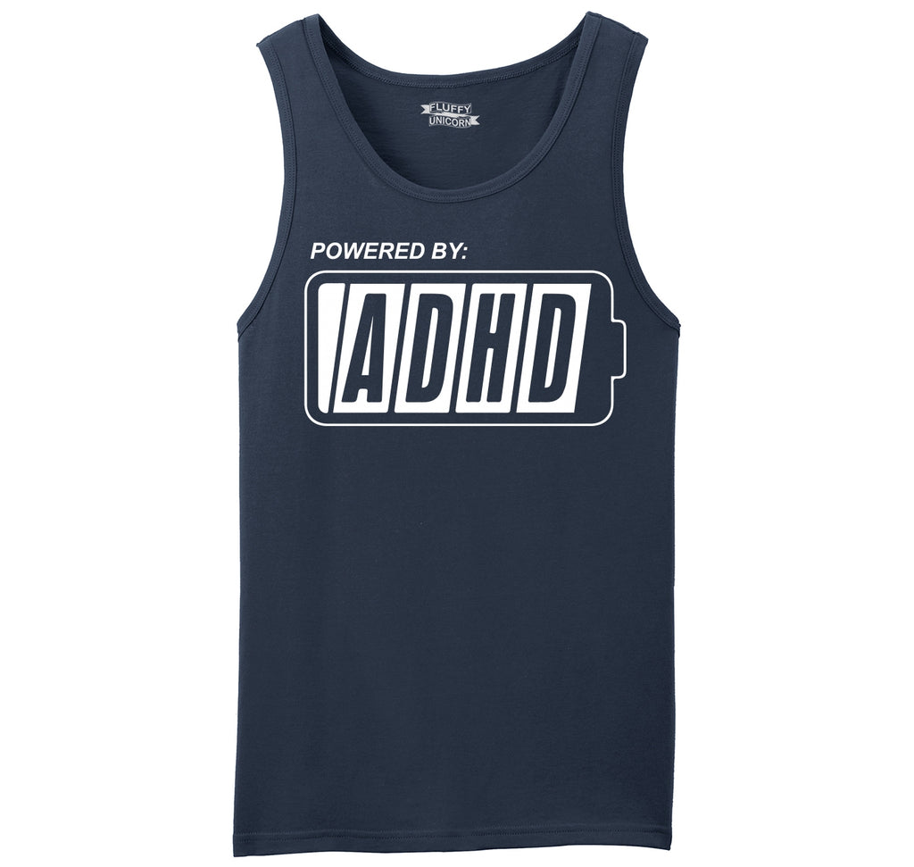 Powered By ADHD Funny ADD Shirt Mens Sleeveless Tank Top