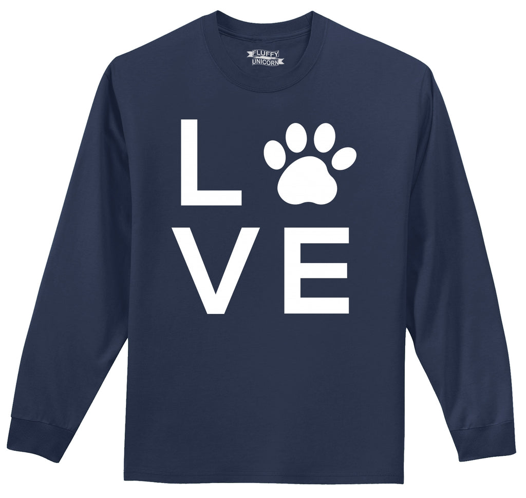Love Dog Big Graphic Mens Long Sleeve Tee Shirt