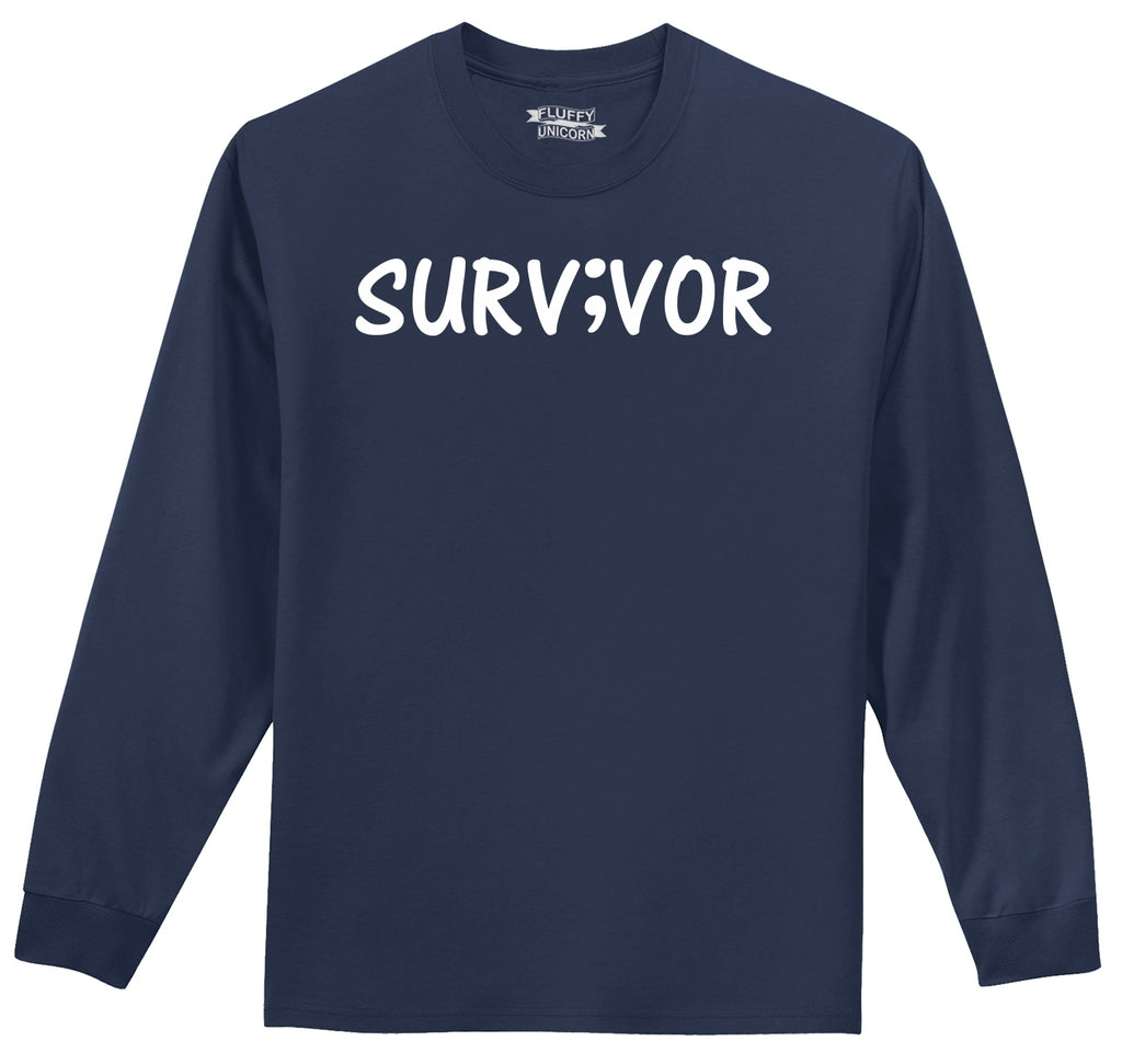 Mental Health Survivor Mens Long Sleeve Tee Shirt
