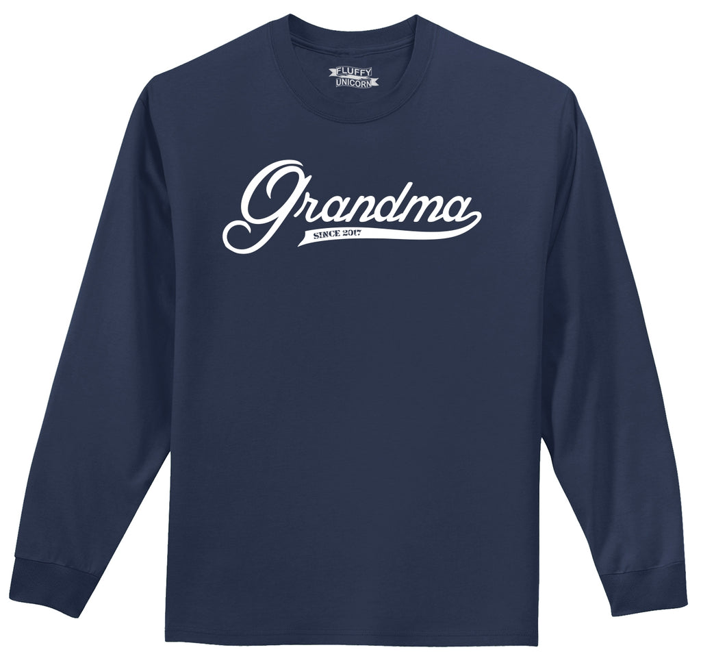 Grandma Since 2017 Shirt Cute New Baby Gift For Grandmother Mens Long Sleeve Tee Shirt