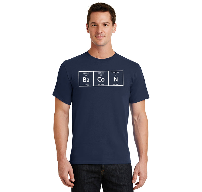 Bacon Periodic Table Men's Heavyweight Big & Tall Cotton Tee Shirt