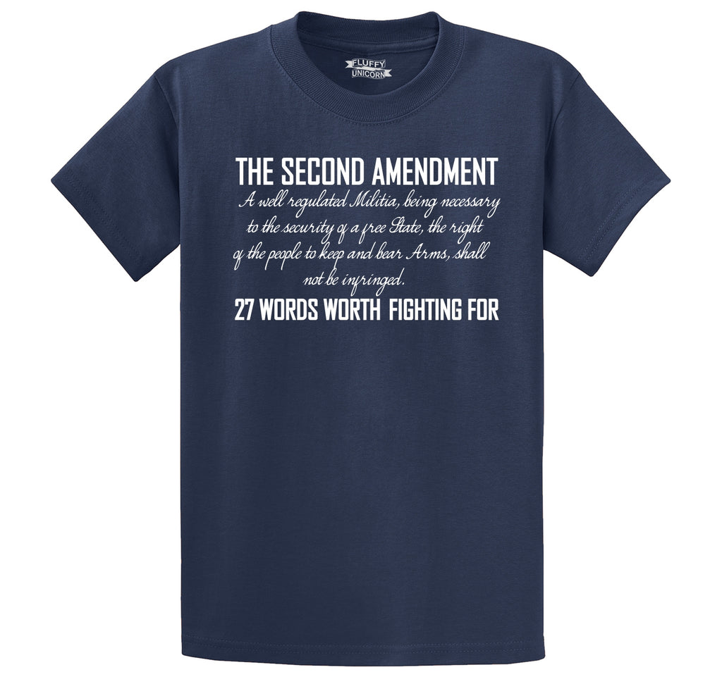 The Second Amendment Words Worth Fighting For Men's Heavyweight Big & Tall Cotton Tee Shirt