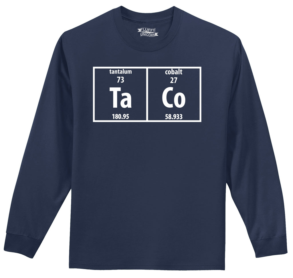 Taco Periodic Table Funny Science Shirt Geek Nerd College Mens Long Sleeve Tee Shirt