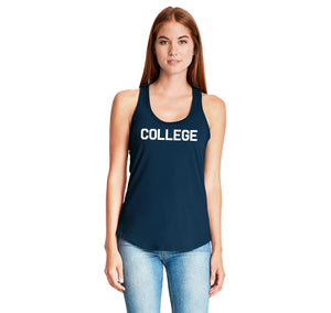 College Ladies Gathered Racerback Tank Top
