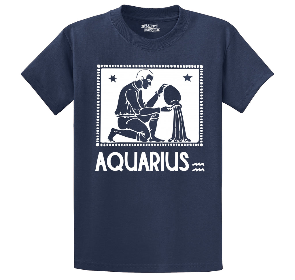 Horoscope Aquarius Tee Men's Heavyweight Big & Tall Cotton Tee Shirt