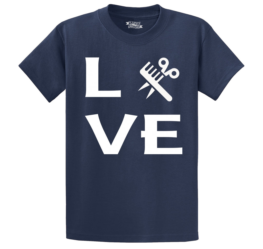 Love Hairstylist Cute Barber Gift Tee Men's Heavyweight Big & Tall Cotton Tee Shirt