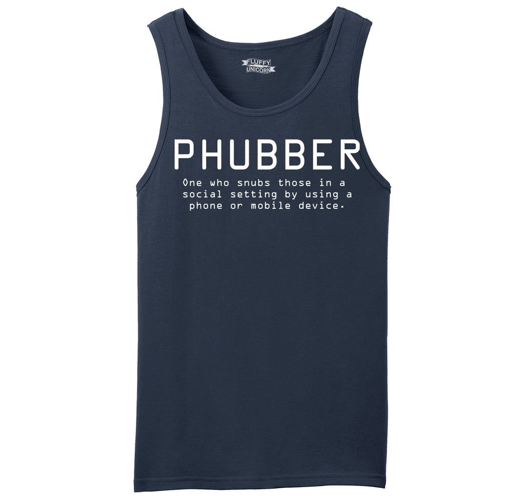 Phubber Snubs in Social Setting on Phone Funny Tee Technology Humor Shirt Mens Sleeveless Tank Top