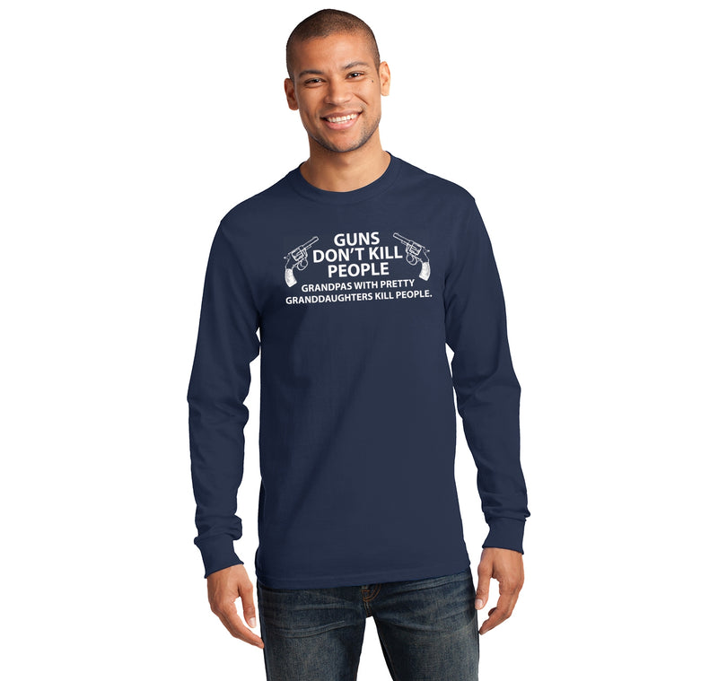 Guns Don't Kill People Grandpas Mens Long Sleeve Tee Shirt