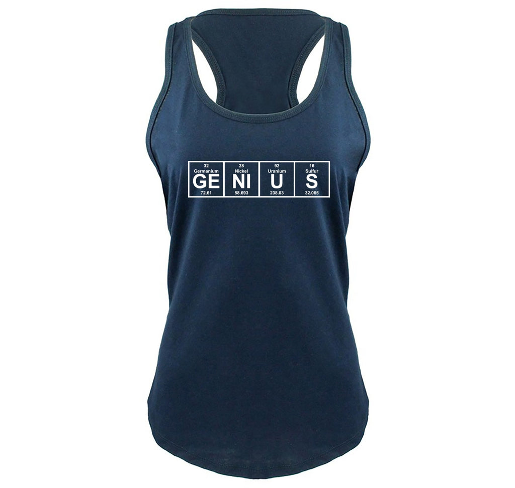 Genius Periodic Table, Funny Science Geek Shirt Ladies Gathered Racerback Tank Top