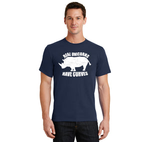 Real Unicorns Have Curves Men's Heavyweight Cotton Tee Shirt