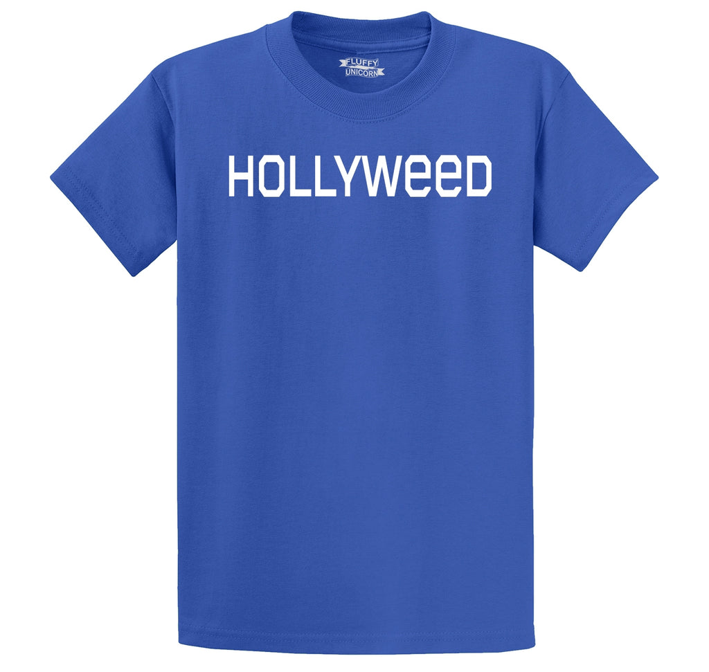 Hollyweed Funny Tee CA LA Hollywood Sign News Weed Stoner Cali Gift Tee Men's Heavyweight Big & Tall Cotton Tee Shirt