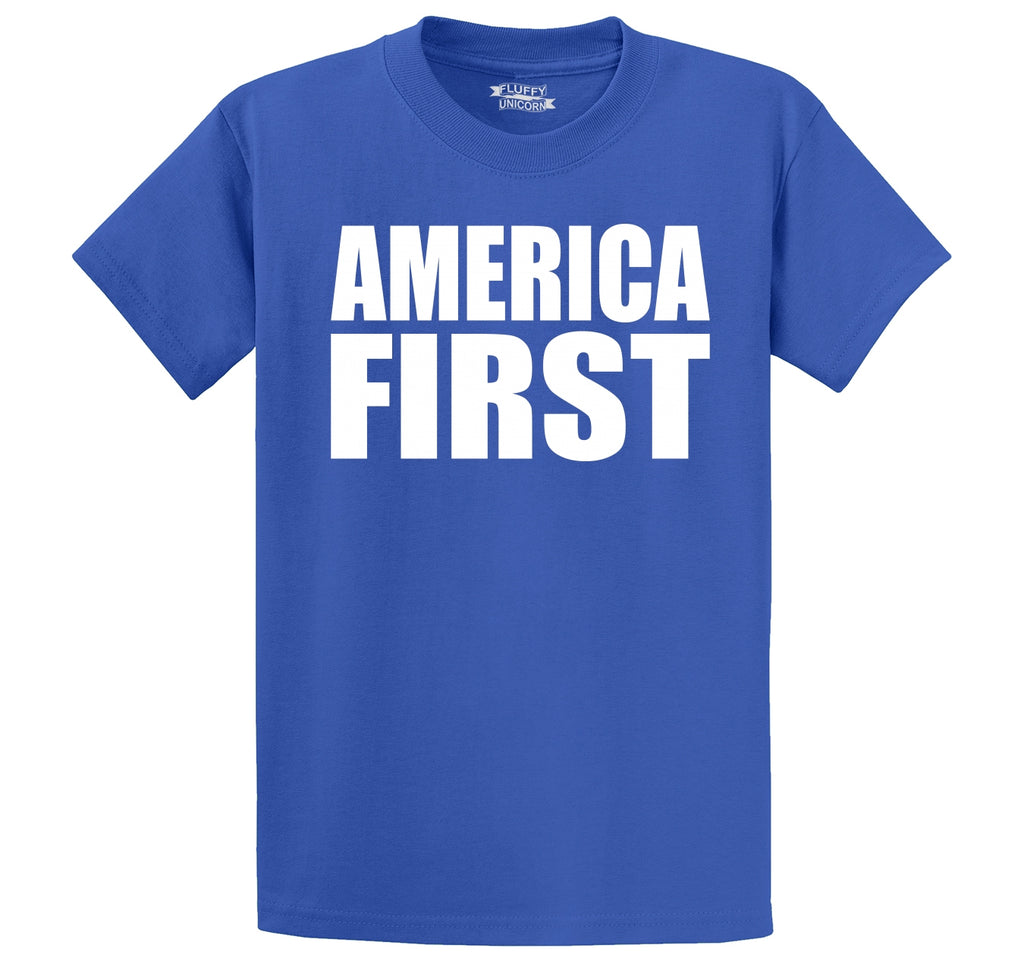 America First Tee President Donald Trump Political USA Patriotic Tee Men's Heavyweight Big & Tall Cotton Tee Shirt