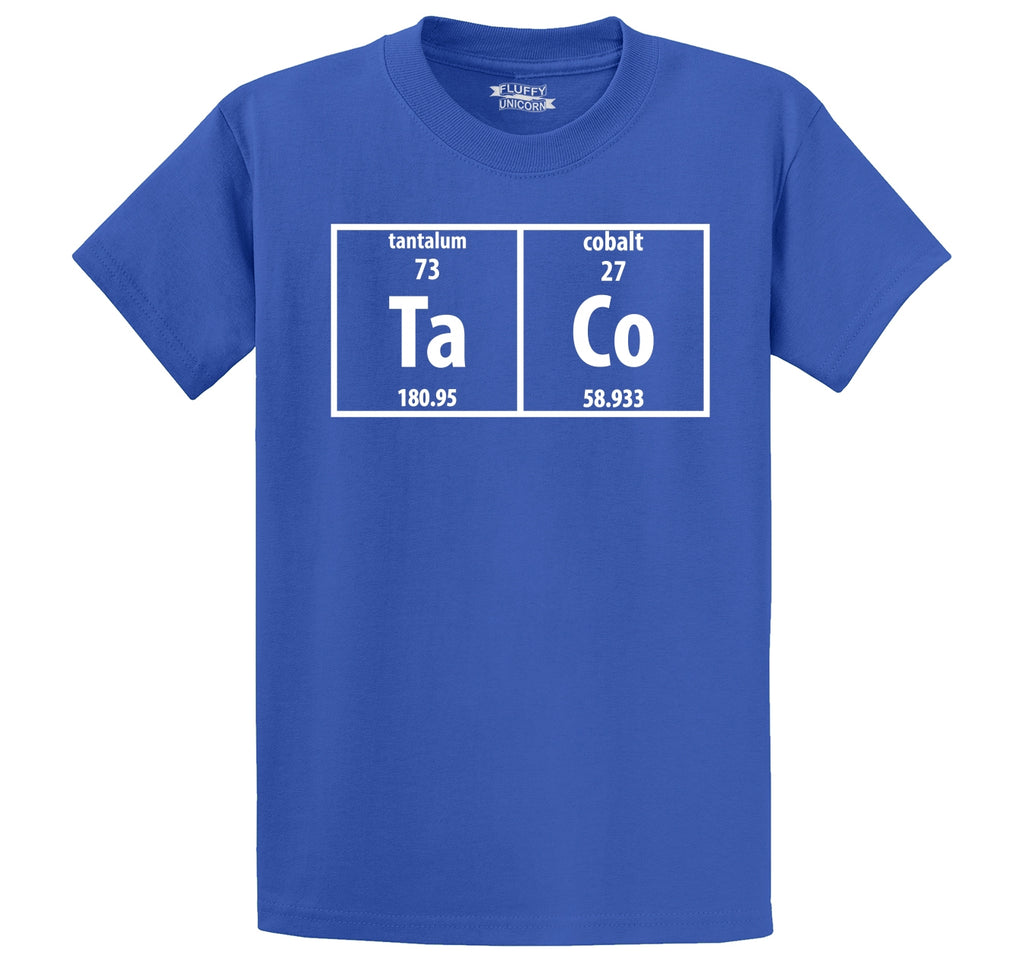 Taco Periodic Table Funny Science Shirt Geek Nerd College Men's Heavyweight Cotton Tee Shirt