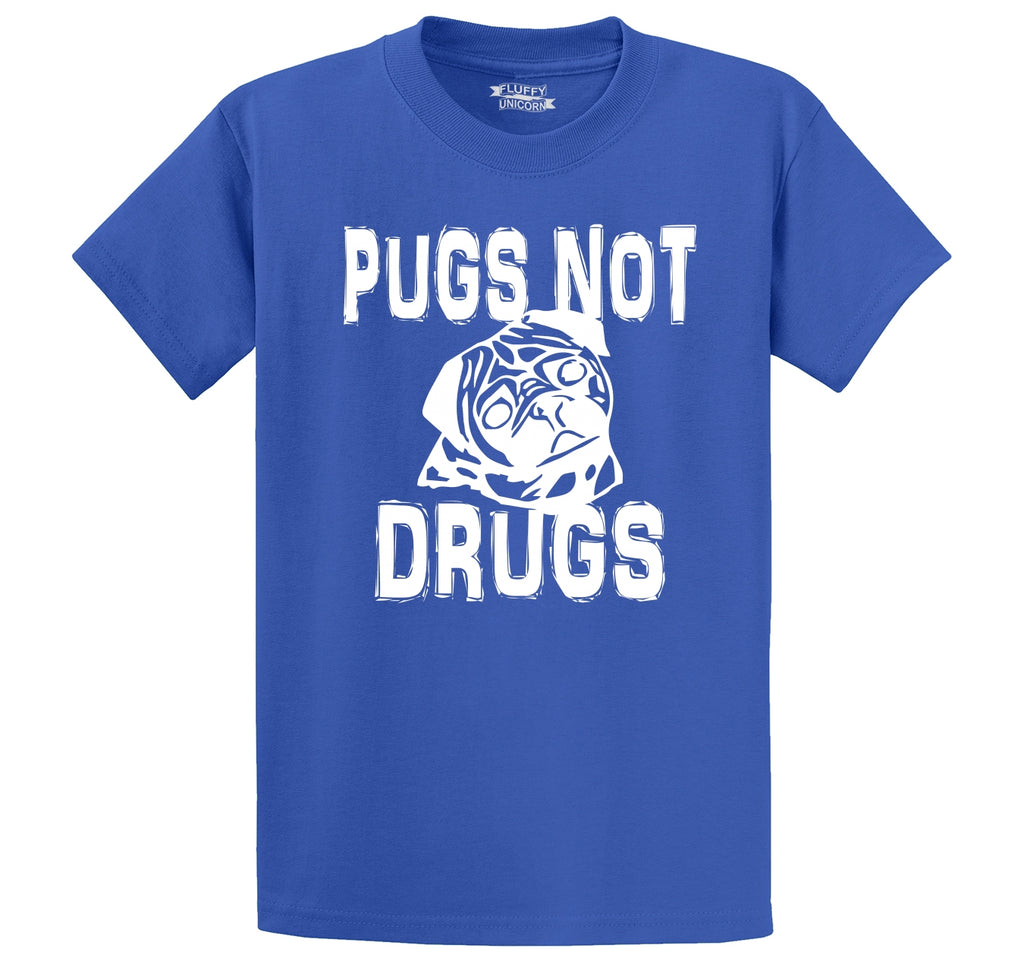 Pugs Not Drugs Funny Dog Lover Pug Lover Shirt Men's Heavyweight Big & Tall Cotton Tee Shirt
