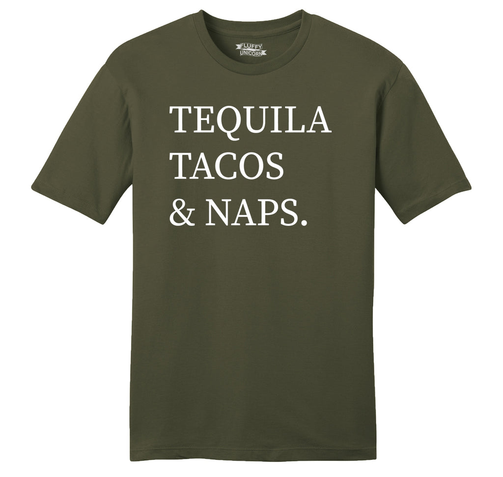 Tequila Tacos And Naps Mens Ringspun Cotton Tee Shirt