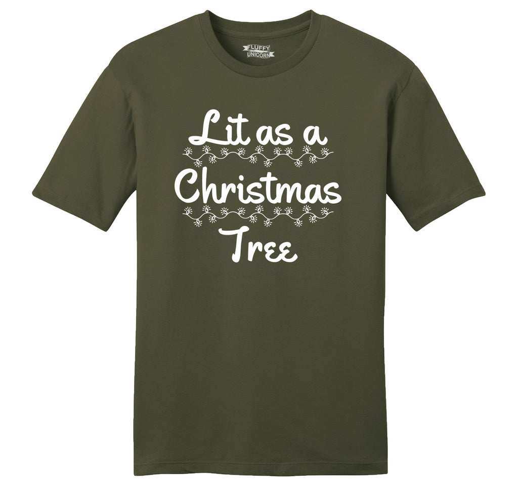 Lit As A Christmas Tree Mens Ringspun Cotton Tee Shirt