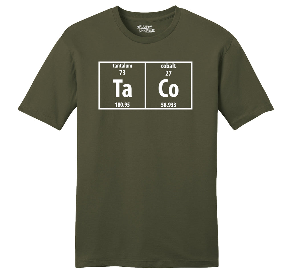Taco Periodic Table Funny Science Shirt Geek Nerd College Mens Ringspun Cotton Tee Shirt