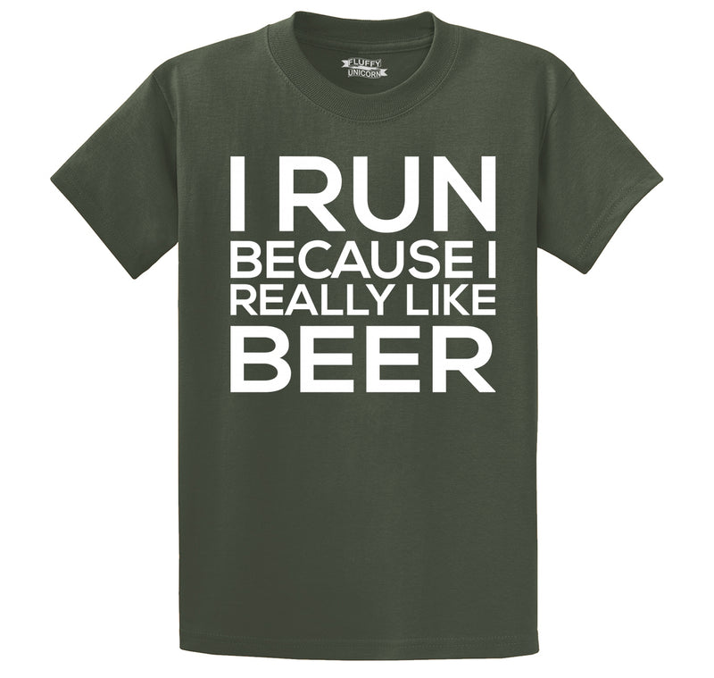I Run Because I Really Like Beer Men's Heavyweight Big & Tall Cotton Tee Shirt