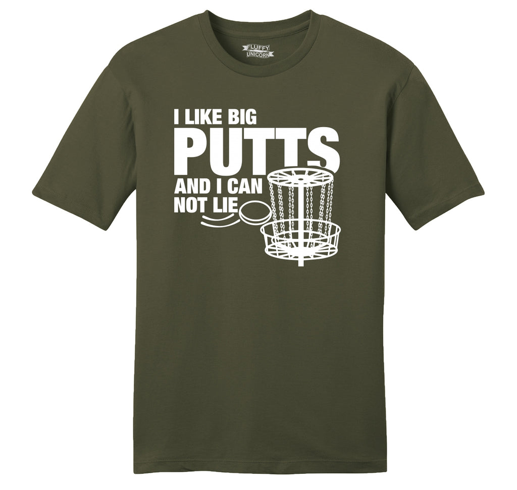I Like Big Putts Funny Chain Frisbee Golf Graphic Tee Mens Ringspun Cotton Tee Shirt