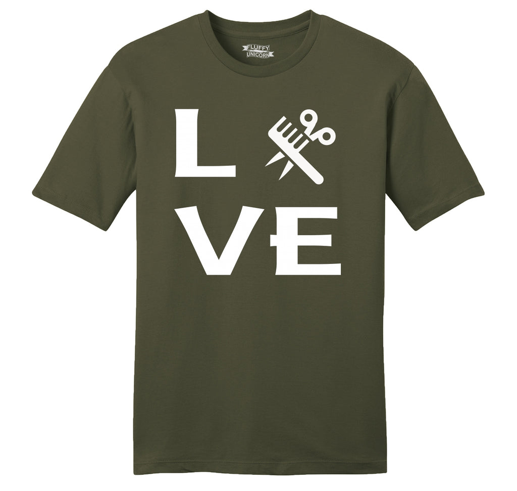 Love Hairstylist Cute Barber Gift Tee Mens Ringspun Cotton Tee Shirt