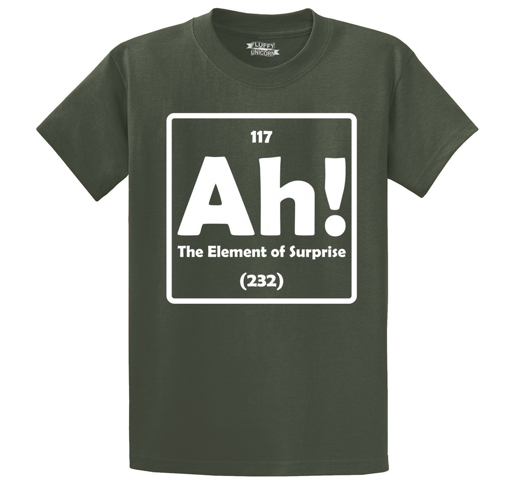 Ah! The Element Of Surprise Men's Heavyweight Big & Tall Cotton Tee Shirt