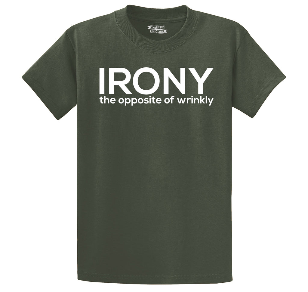 Irony The Opposite Of Wrinkly Men's Heavyweight Big & Tall Cotton Tee Shirt