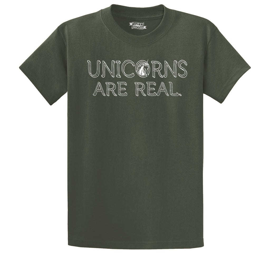 Unicorns Are Real Men's Heavyweight Big & Tall Cotton Tee Shirt