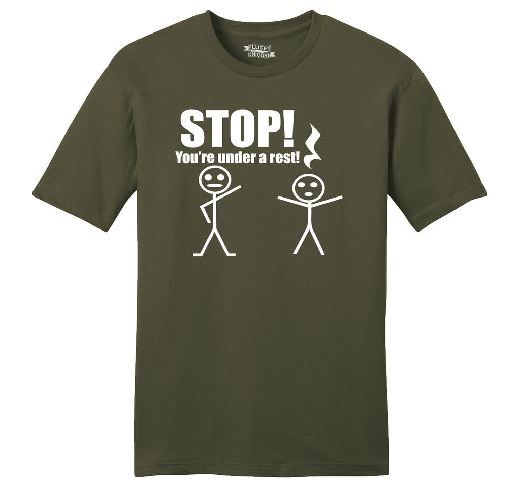 Stop You're Under A Rest Funny Music Piano Shirt Mens Ringspun Cotton Tee Shirt