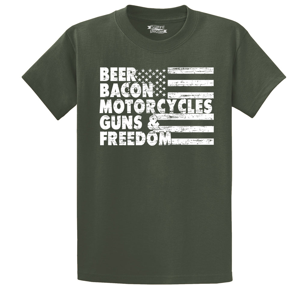 Beer Bacon Motorcycles Guns & Freedom Tee Gun Rights American Pride Biker Shirt Men's Heavyweight Cotton Tee Shirt