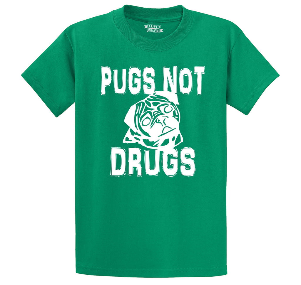 Pugs Not Drugs Funny Dog Lover Pug Lover Shirt Men's Heavyweight Cotton Tee Shirt