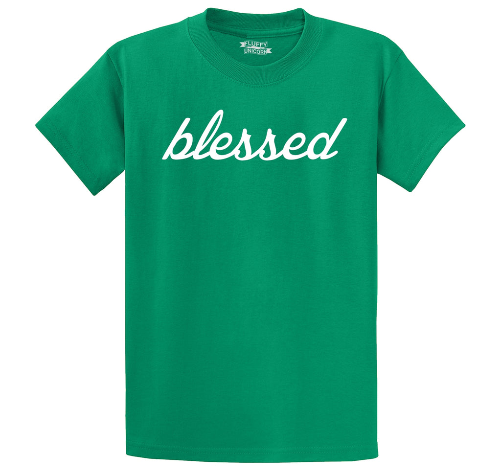 Blessed Graphic Tee Greatful Religious Tee Men's Heavyweight Big & Tall Cotton Tee Shirt