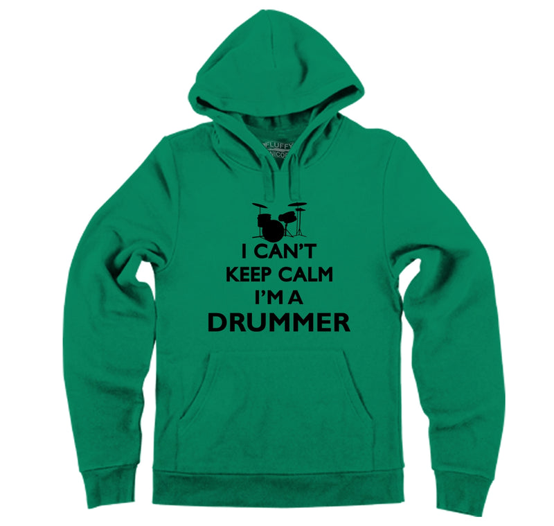 Are you a drummer? Do you know a drummer? You should understand the difficulties with keeping calm! Hooded Sweatshirt