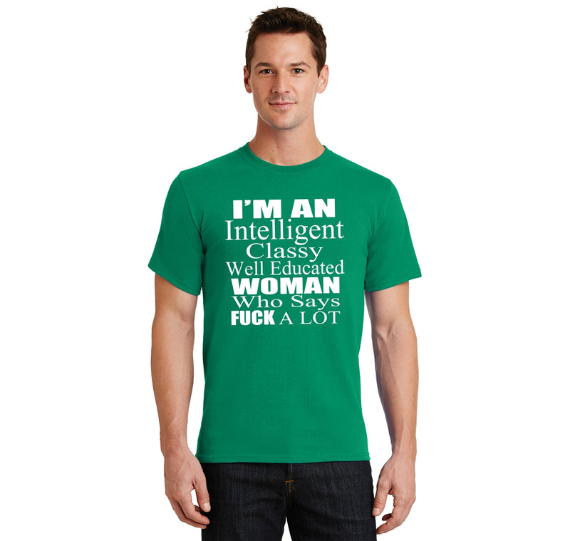 Intelligent Classy Woman Says Fuck A Lot Men's Heavyweight Cotton Tee Shirt