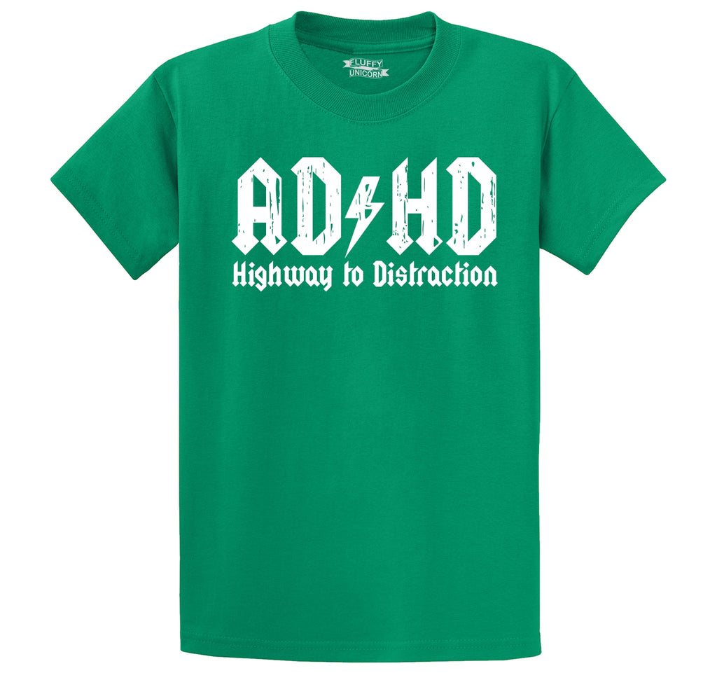 ADHD Highway To Distraction Funny T Shirt Cute Music Parody Party Tee Men's Heavyweight Big & Tall Cotton Tee Shirt