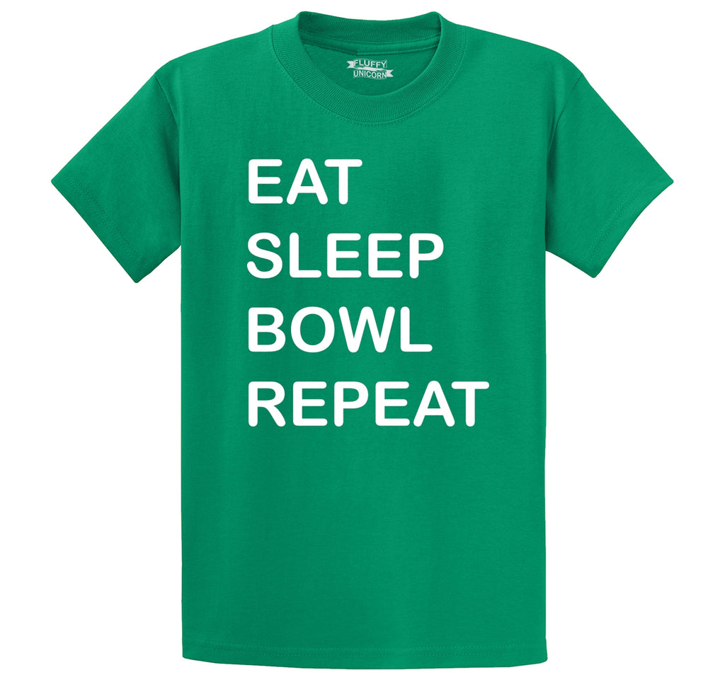 Eat Sleep Bowl Repeat Men's Heavyweight Big & Tall Cotton Tee Shirt