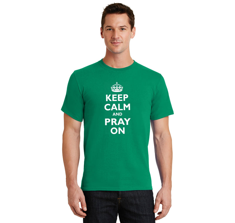 Keep Calm and Pray On Men's Heavyweight Cotton Tee Shirt