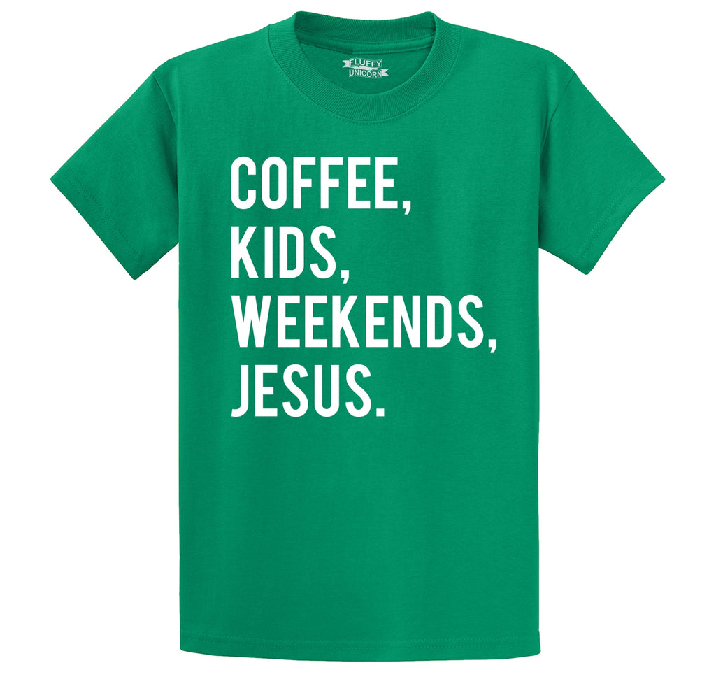 Coffee Kids Weekends Jesus Men's Heavyweight Big & Tall Cotton Tee Shirt