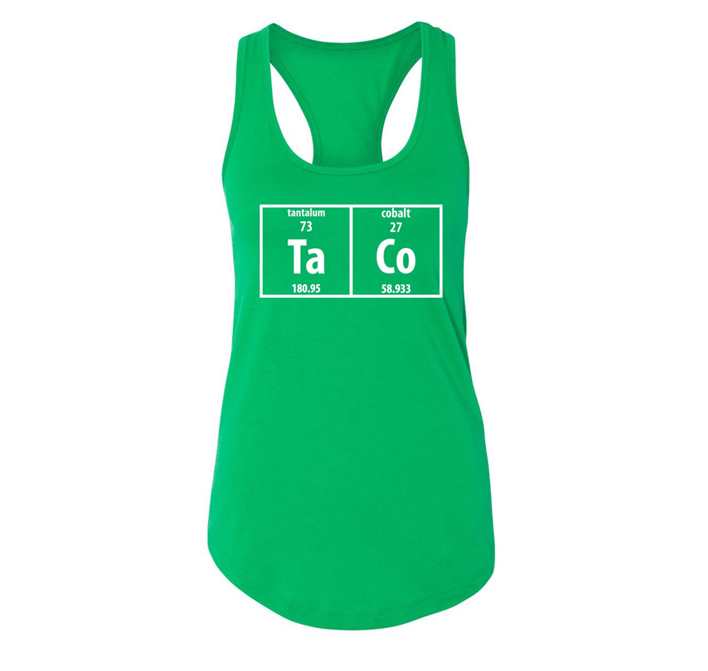 Taco Periodic Table Funny Science Shirt Geek Nerd College Ladies Racerback Tank Top