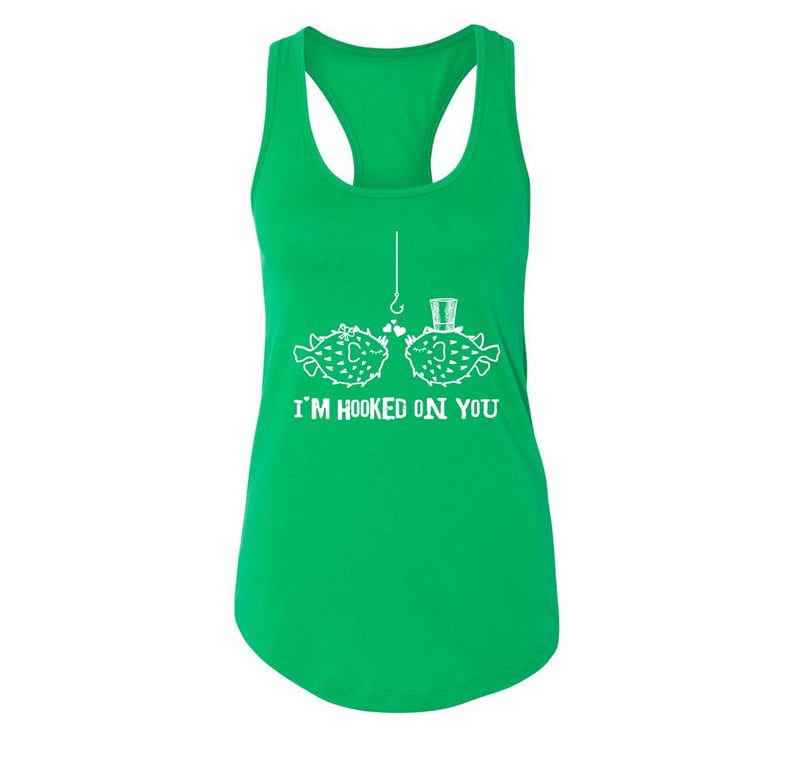I'm Hooked On You Funny Tee Fish Valentines Day Gift Tee Ladies Racerback Tank Top