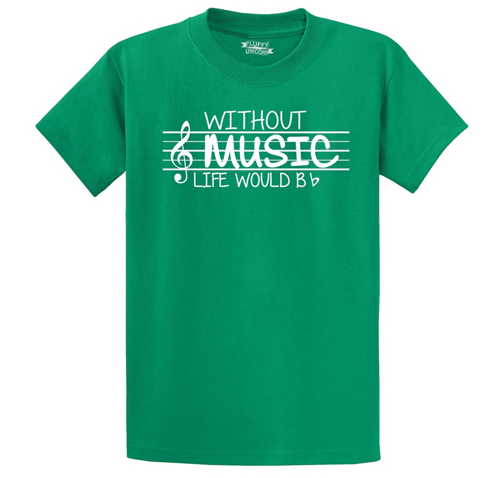 Without Music Life Would Be b Flat Men's Heavyweight Cotton Tee Shirt