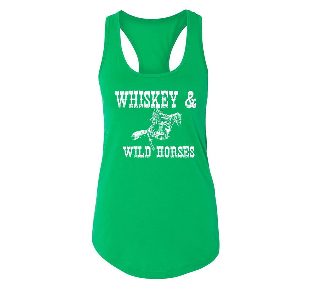 Whiskey and Wild Horses Ladies Racerback Tank Top