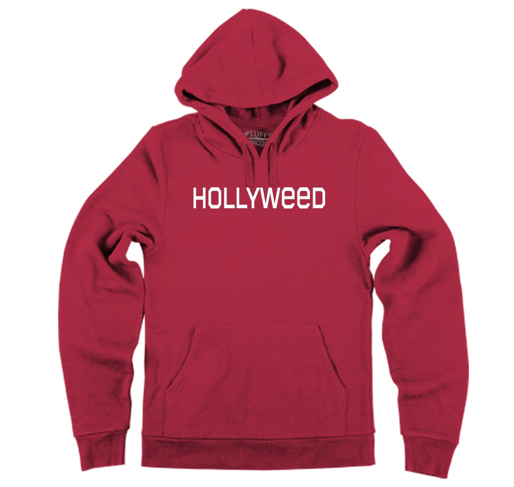 Hollyweed Funny Tee CA LA Hollywood Sign News Weed Stoner Cali Gift Tee Hooded Sweatshirt