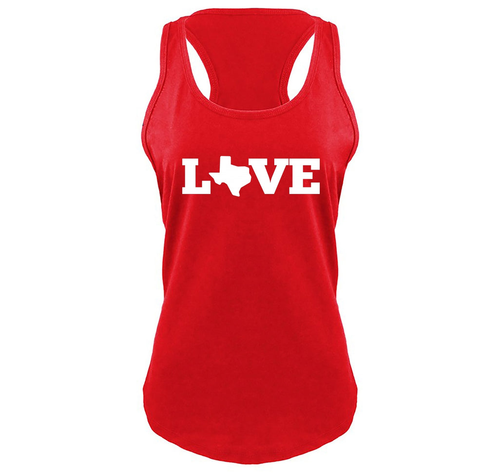 Love Texas Map Cute Tee Home Texan State Pride Tee Ladies Gathered Racerback Tank Top